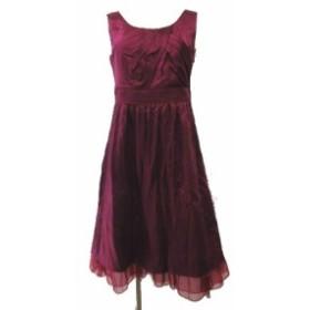 【中古】エニィスィス エニシス anySiS ワンピース シルク チュール ノースリーブ サイズ1 赤紫 レディース