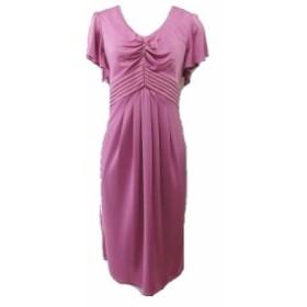 【中古】マテリア MATERIA ワンピース ドレス Vネック フリル袖 サイズ38 ピンクパープル系 レディース