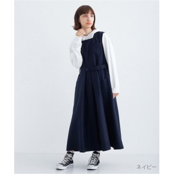 (merlot/メルロー)ウール混ベルト付きジャンパースカート2059/レディース ネイビー 送料無料