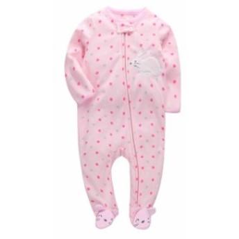 ベビー服 ソフトフリース 女の子 ロンパース 男の子 pink dot