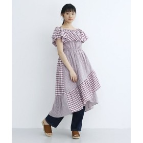メルロー ギンガムチェック柄オフショルワンピース レディース ピンク FREE 【merlot】