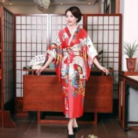 印刷孔雀古代日本スタイルステージパフォーマンス服女性セクシーなサテンノベルティ着物バスローブガウン浴衣付 Red Style C