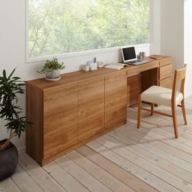 天然木調薄型コンパクトオフィスシリーズ サイドチェスト・幅40cmブラウン