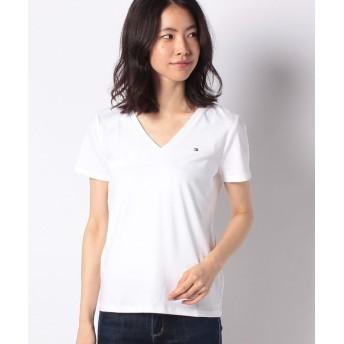 トミーヒルフィガー ベーシックVネックTシャツ レディース ホワイト2 M 【TOMMY HILFIGER】