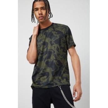 Tシャツ - FOREVER 21【MEN】 【カモフラメッシュTシャツ】 グラフィック ロゴt 緑 カーキ S M