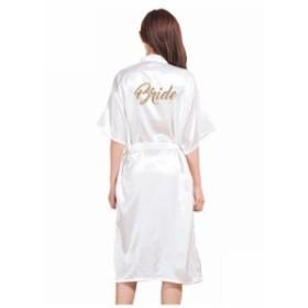 ゴールドスタンプ「花嫁」シルクサテンロング花嫁ローブハーフスリーブ着物ナイトローブソリッドバスローブファッションドレ White
