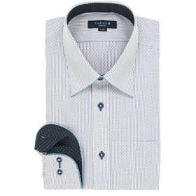 【TAKA-Q:トップス】形態安定スリムフィット レギュラーカラーパイピング長袖ビジネスドレスシャツ/ワイシャツ