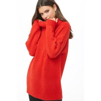 ニット・セーター - FOREVER 21 【WOMEN】 【ブラッシュドリブオフタートルネックセーター】 ニット セーター 長袖 チュニック ゆったり/オーバーサイズ 無地 赤 レッド S ML