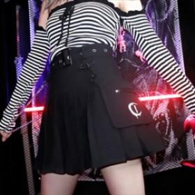 ゴスロリ スカート ショートスカート ミニ サイドチェーン 刺繍ポケット 病み可愛い ブラック V系 ビジュアル系 ストリート系 送料無料