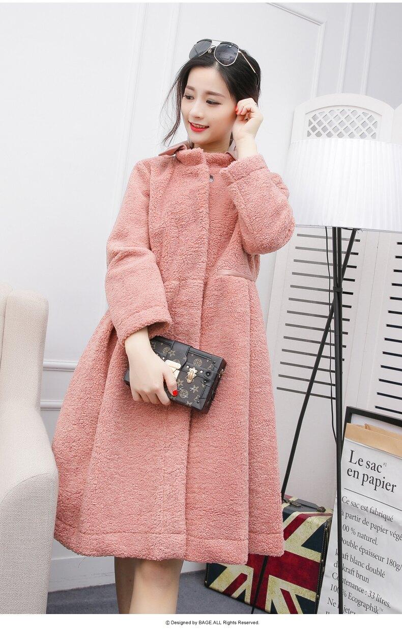 (春暖花開)粉嫩粉紅毛茸茸溫暖長大衣預購七天