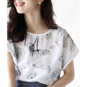 [フレンチパヴェ] フラワー プリント シンプル カットソー Tシャツ 半袖 レディース
