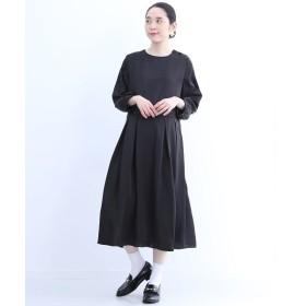 メルロー ハイウエストタック切替Aラインワンピース レディース ブラック FREE 【merlot】