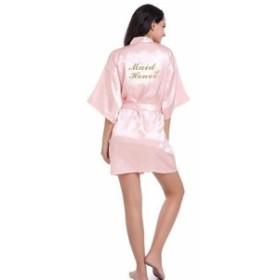 RB85メイドオブオナーレターゴールデンキラキラプリント着物ローブフェイクシルク女性バチェ pink Maid of Honor
