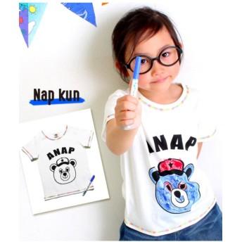 【50%OFF】 アナップキッズ サクラクレパス×ANAPKIDS 塗り絵ペン付Tシャツ レディース ブルー 110 【ANAP KIDS】 【セール開催中】