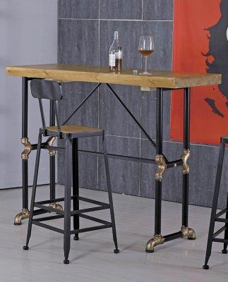 【生活家傢俱】JF-919-2※蓋爾4.6尺長方水管吧台桌【台中6900送到家】實木桌 工業風 鐵管 仿舊 餐桌 桌子