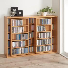 スライド式CD&コミックラック 2重タイプ5段 幅120cm [CD用]ホワイト