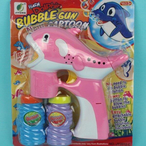 小海豚音樂電動 泡泡槍+泡泡水(附電池)/一袋5支入{促150} 吹泡泡機~CF101377