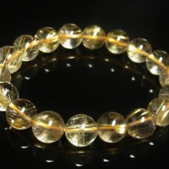 現品一点物 スモーキーゴールドルチル ブレスレット 金針水晶数珠 11 12ミリ 39g SGR7 最強金運 パワースト