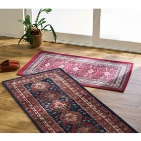 ロングマット・約74×130cm(イタリア製ペルシャ絨毯風ヴィンテージプリントラグ〈オリエンテ〉 レッド)レッド