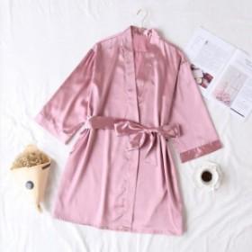 夏シャンパン中国の花嫁ウェディングローブサテンパジャマ女性ナイトガウンセクシーなナイトドレスレディ着物バスローブガウン Pink