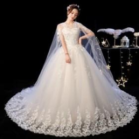 YiiYaのウェディングドレスOネック偽ショールウェディングドレスノースリーブ刺繍フルレーススイープトレインホワイト White