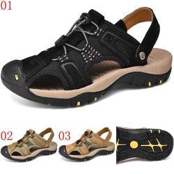 JHS杰恆社ylw50涼鞋男夏季真皮透氣男士戶外運動休閒鞋兩用包頭沙灘鞋 預購