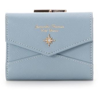 サマンサタバサプチチョイス サマンサ トゥウィンクル がま口折財布 ライトブルー