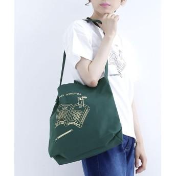 メルロー ◆鬼頭祈さんコラボ◆SUMMER HOME WORKプリントトートバッグ レディース グリーン FREE 【merlot】