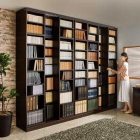 本格仕様 快適スライド書棚 オープン・上置き付き 3列ダークブラウン