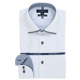 【TAKA-Q:トップス】ストレッチ形態安定スリムフィット ワイドカラー長袖ニットビジネスドレスシャツ