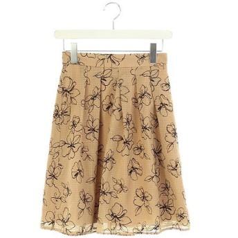 プロポーション ボディドレッシング PROPORTION BODY DRESSING スカート 膝丈 フレア タック 花柄 チェック 2 キャメル /RM ■MB レディース