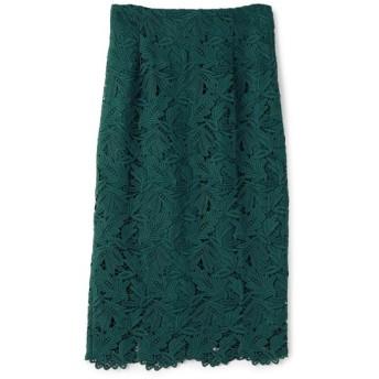 ESTNATION / スカラップヘムレースタイトスカート グリーン/38(エストネーション)◆レディース スカート
