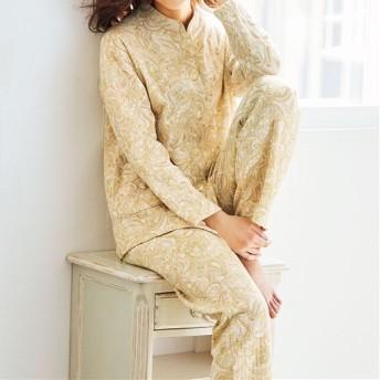 【レディース】 綿100%ふんわりニットキルトパジャマ(日本製) - セシール ■カラー:ソフトマスタード ■サイズ:M,L,LL,3L,S