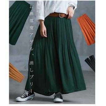 パンツ ワイド ガウチョ レディース スカート 見えするヴィンテージサテン M/L ニッセン