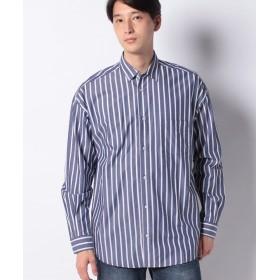 【10%OFF】 メラン クルージュ ストライプBIGシャツ メンズ ネイビー M 【Melan Cleuge】 【タイムセール開催中】