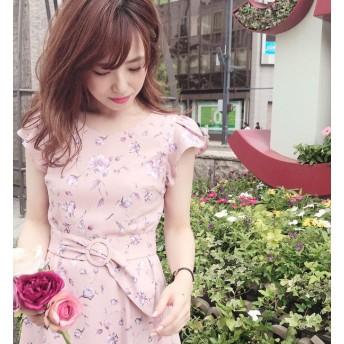 【ミッシュマッシュ/MISCH MASCH】 袖フレアー配色花柄ワンピース