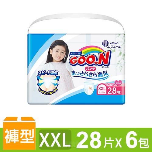 日本大王GOO.N 境內版透氣舒柔褲型尿布-女XXL 6包/箱