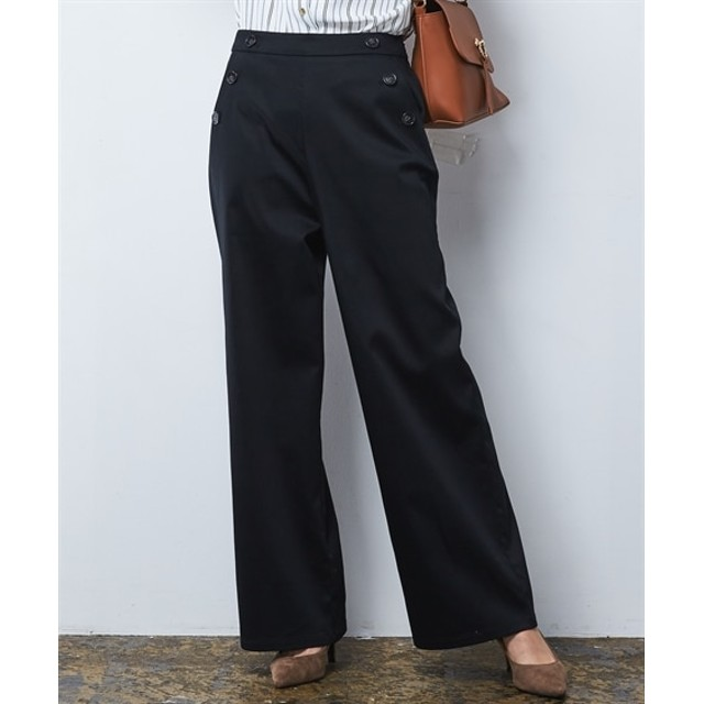 マリンボタンセミワイドパンツ (レディースパンツ),pants