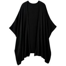【レディース大きいサイズ】 ポンチョタイプニットカーディガン - セシール ■カラー:ブラック