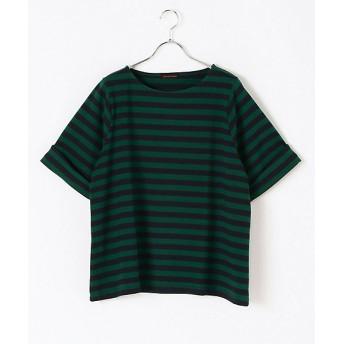 <green nout/グリーンノート 大きいサイズ> 大きいサイズ ボーダーカットソー ダークグリーンx(384)【三越・伊勢丹/公式】