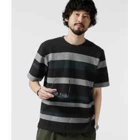 (nano・universe/ナノ・ユニバース)ジャガードランダムボーダークルーネックTシャツ/メンズ パターン3