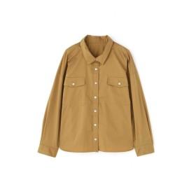 【公式/NATURAL BEAUTY BASIC】フラップポケットシャツ/女性/ブルーブラウス/キャメル/サイズ:M/コットン 61% ナイロン 34% ポリウレタン 5%