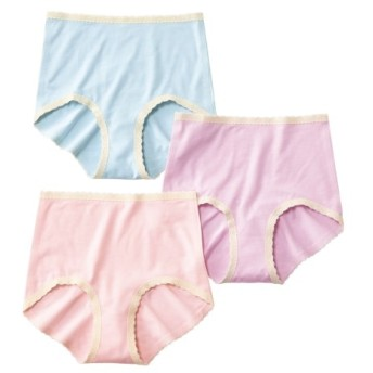 アウターにひびきにくい レーヨン。綿混ストレッチ深ばきショーツ3枚組 スタンダードショーツ,Panties