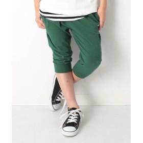 (devirock/デビロック)キッズ 子供服 7分丈裾リブパンツ ハーフパンツ 男の子 女の子/レディース グリーン