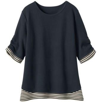 50%OFF【レディース】 重ね着風制菌Tシャツ(半袖) - セシール ■カラー:ブラック ■サイズ:S