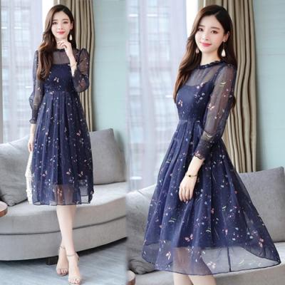 【韓國K.W.】韓國設計秋日氛圍超仙氣質蝴蝶印花洋裝