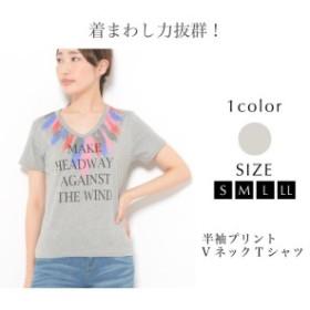 Tシャツ S M L LL レディース トップス カットソー 半袖 プリント