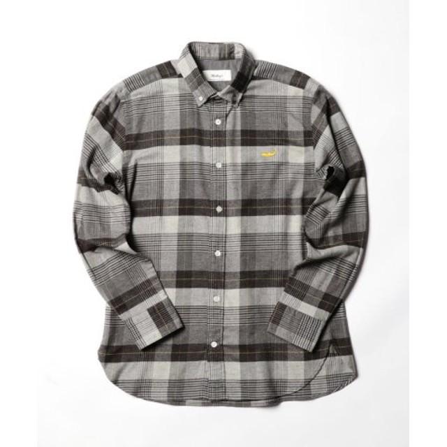 (NOLLEY'S/ノーリーズ)クジラ刺繍ボタンダウンネルシャツ/メンズ ブラック・グレー系1