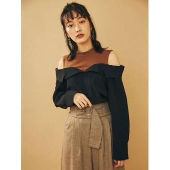 (MURUA/ムルーア)ドッキングオープンカラーシャツ/レディース ブラック 送料無料