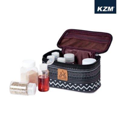 【野外營】KAZMI KZM 彩繪民族風調味料收納袋(M) 調味罐收納 收納袋 黑色
